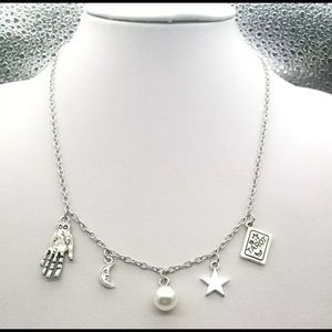 Silver Fortune Teller Tarot Palmistry Necklace